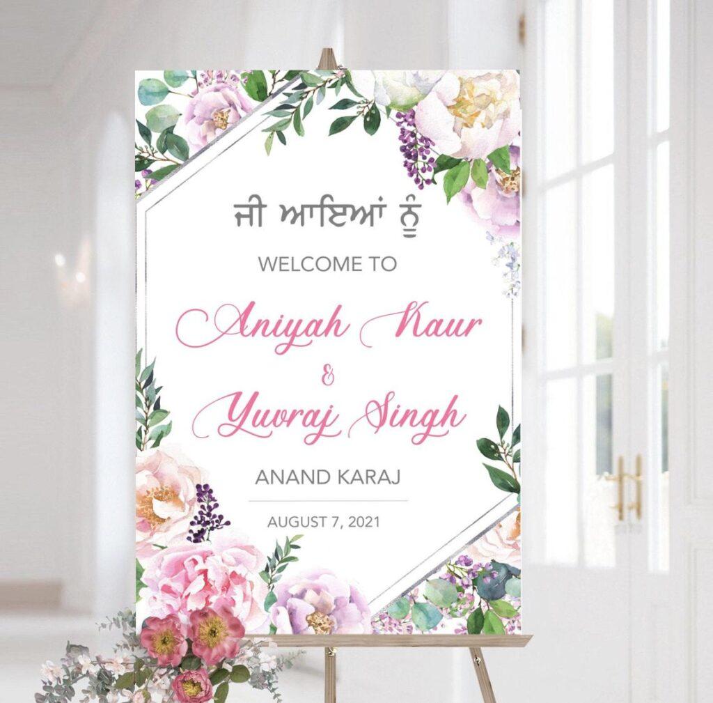 Anand Karaj Welcome Sign