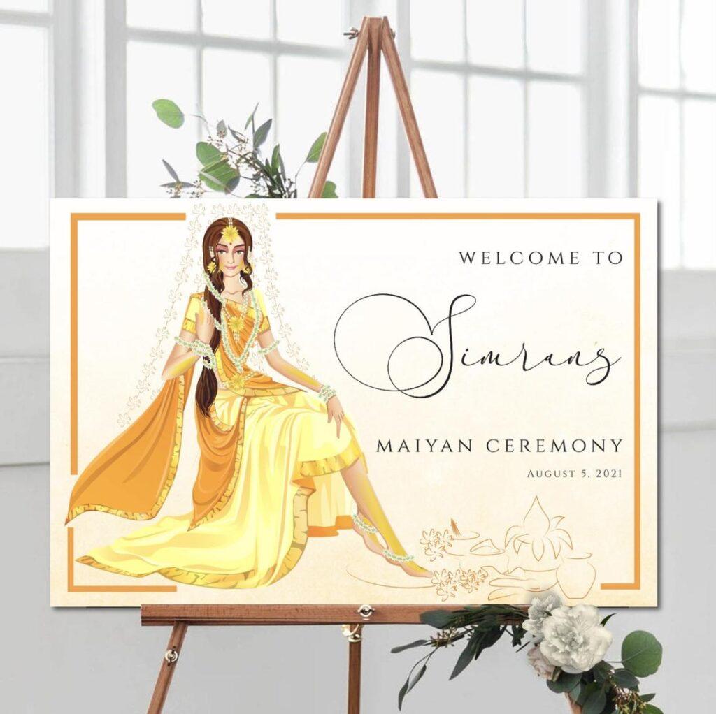 Wedding Welcome Sign | Sangeet | Mayian | Jago Party | Haldi Sign | Mehendi |Gold Design