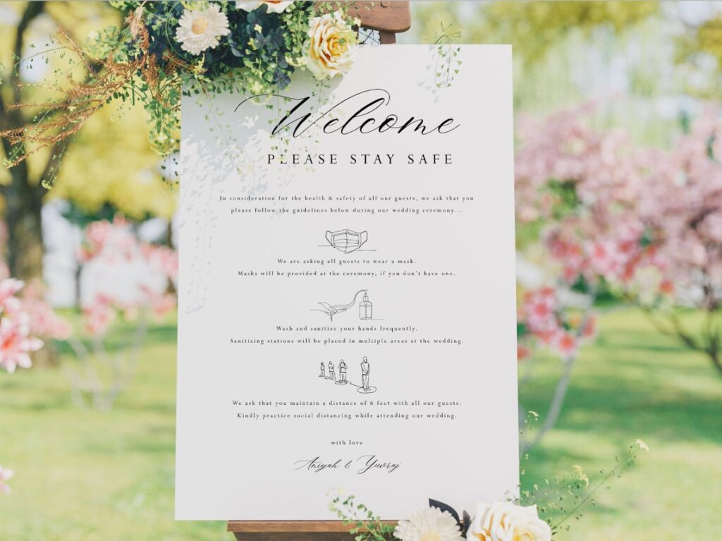 Welcome Sign | Covid Sign | Covid Wedding | Covid Ceremony