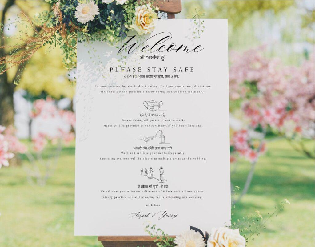 Wedding Welcome Sign | Sangeet | Mayian | Jago Party | Haldi Sign | Mehendi |Gold Design | Indian Covid Sign