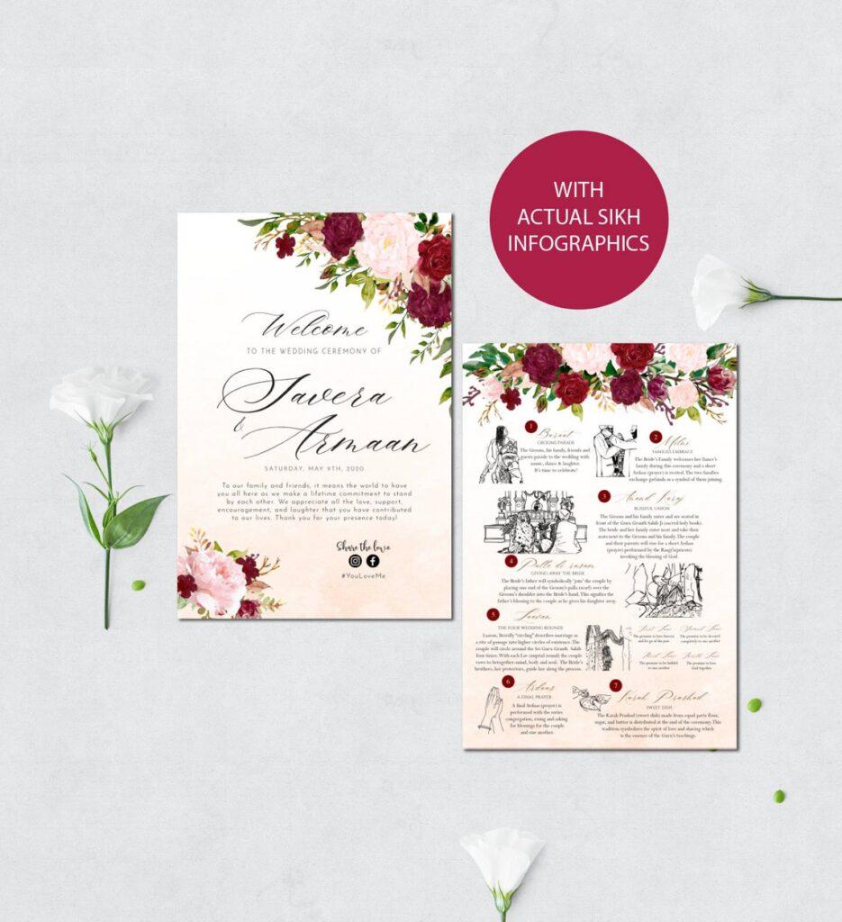 Sikh Wedding Program | Custom Wedding Program | Sikh Infographics | Sikh Ceremony | Anand Karaj