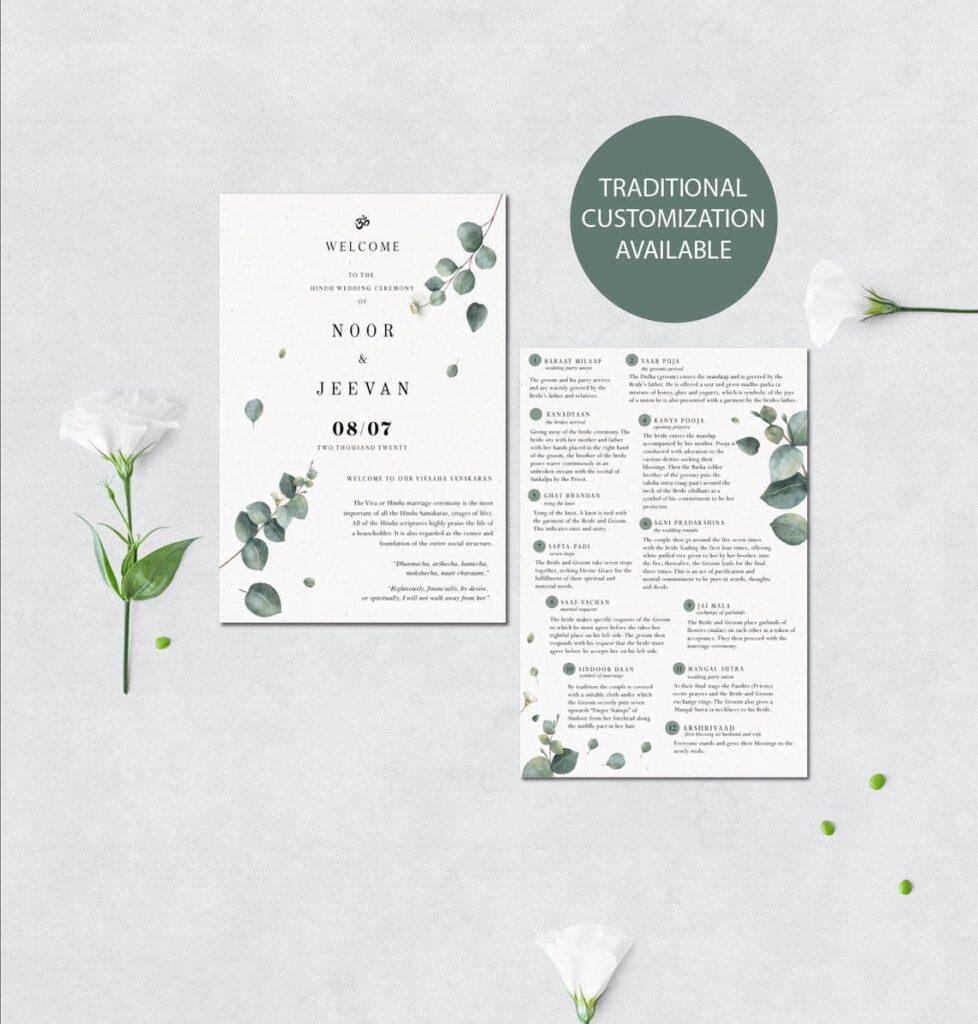 Hindu Wedding Program | Custom Wedding Program | Hindu Infographics | Hindu Ceremony