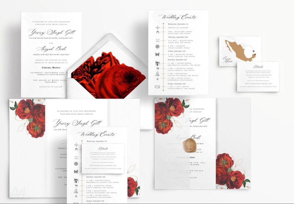 Wedding Invitations | Roses | Vellum Jacket | Destination Wedding | Indian Destination Wedding