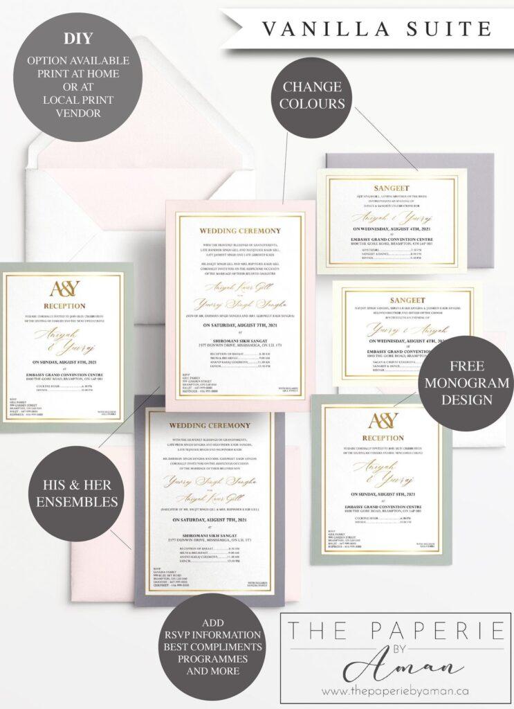 Indian Wedding Invitations | Simple | Colour Border | Digital | Print | DIY