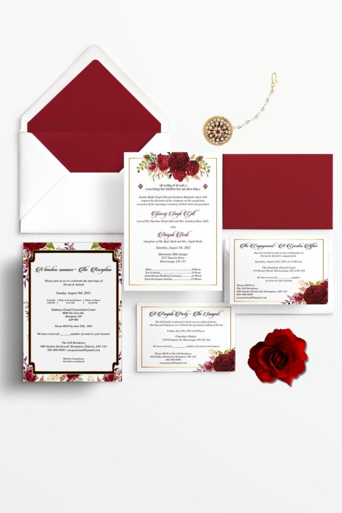 Indian Wedding Invitations | Red Floral | Romantic | Digital | Print | DIY | Free GTA pick up