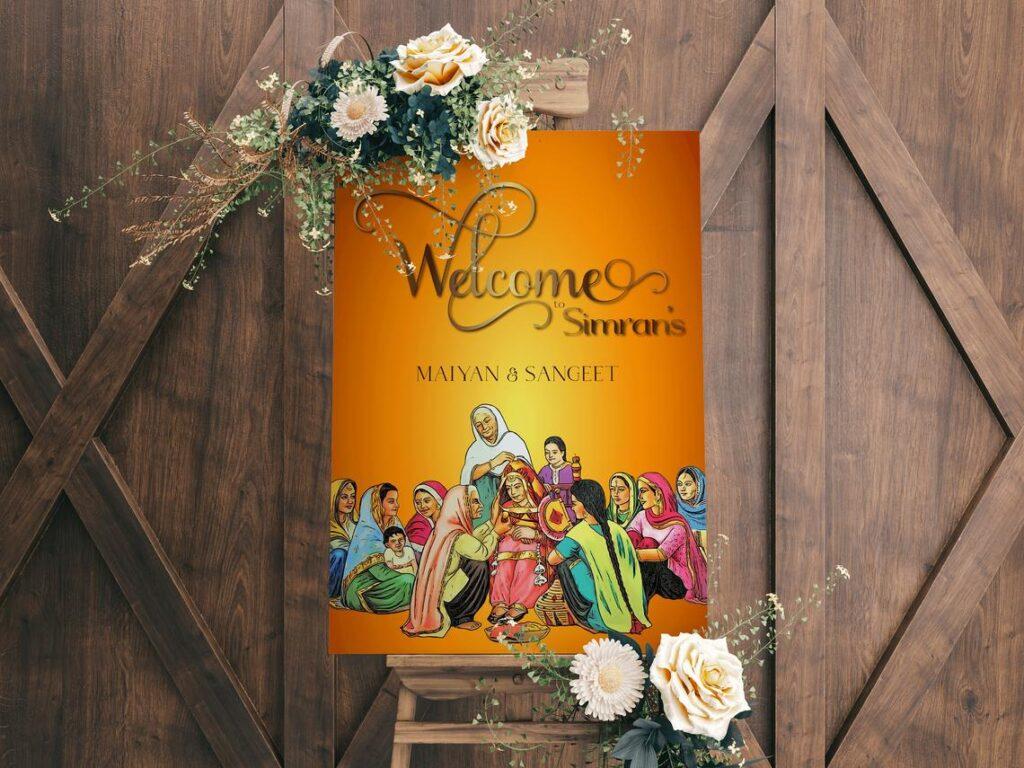 Welcome Sign | Sangeet | Maiyan Sign | Jago Sign | Punjabi Sign | Personalized | Vintage Wedding