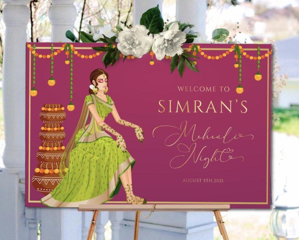 Welcome Sign | Sangeet | Sangeet | Mayian Sign | Mehendi | Haldi | Personalized | Digital File