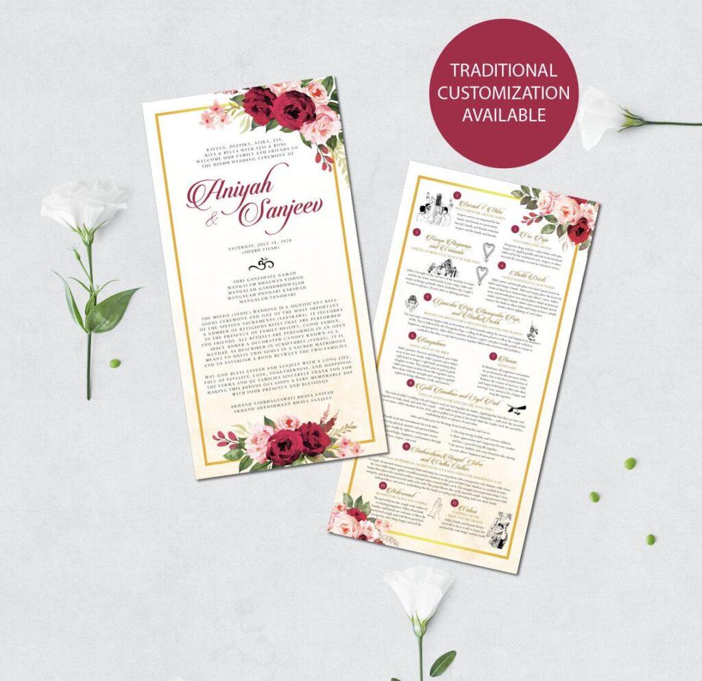 XL Hindu Wedding Program | Custom Wedding Program | Hindu Infographics | Hindu Ceremony