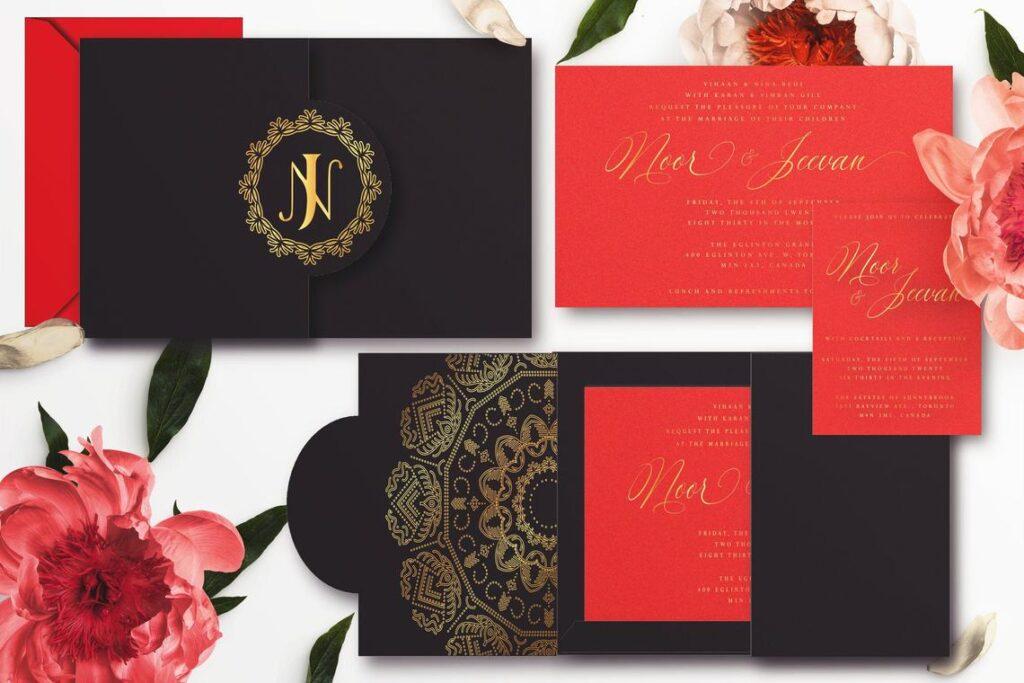 Customizable Pocket Wedding Invitations – Indian | Sikh | Hindu | Punjabi Wedding Invitations