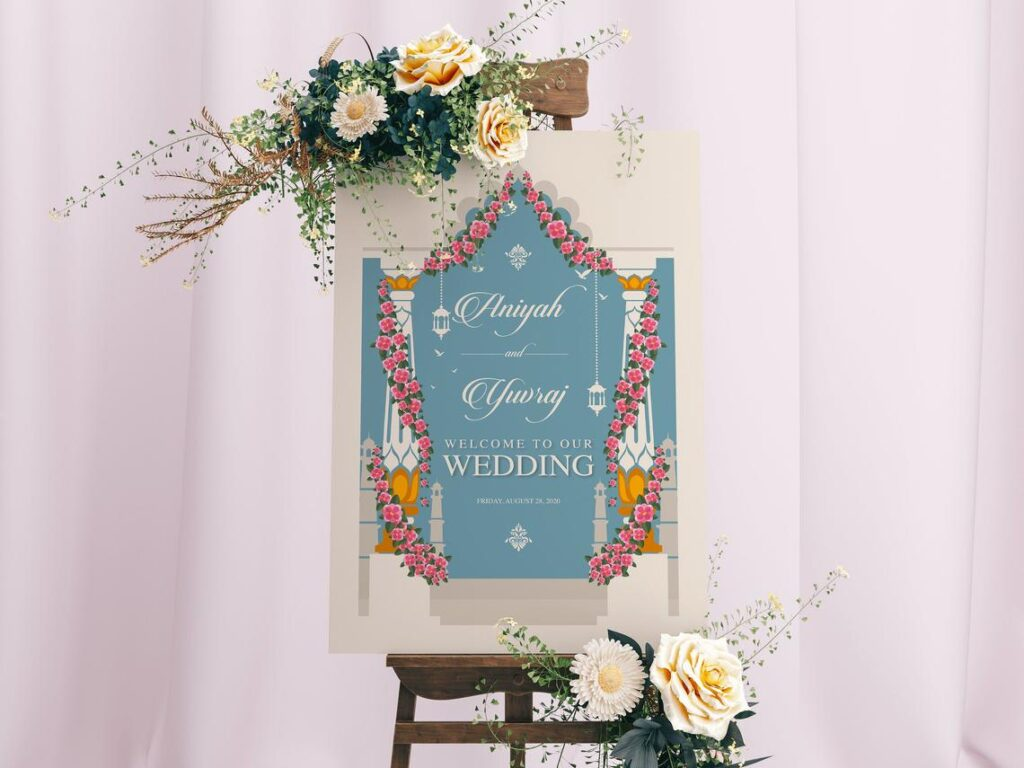 Welcome Sign | Sangeet | Sangeet | Mayian Sign | Mehendi | Haldi | Hindu Wedding | Personalized | Digital File