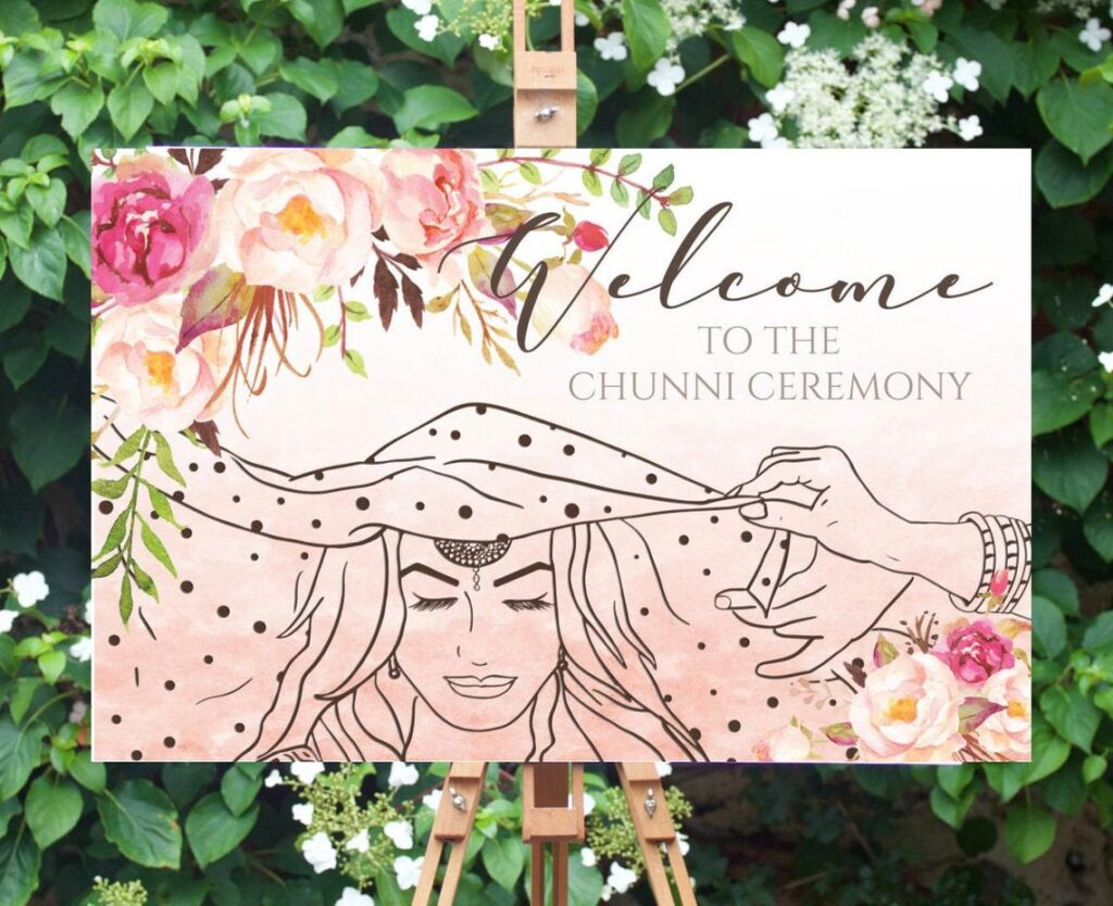 Welcome Sign | Sangeet | Ladies Sangeet | Mayian Sign | Chunni Ceremony | Wedding Sign | Personalized | Digital File