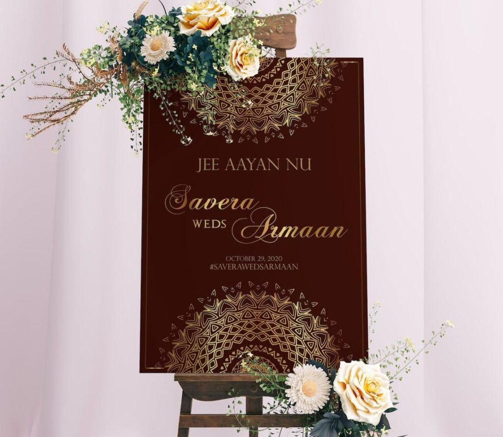 Wedding Welcome Sign | Sangeet | Mayian | Jago Party | Reception Sign | Gold Mandala