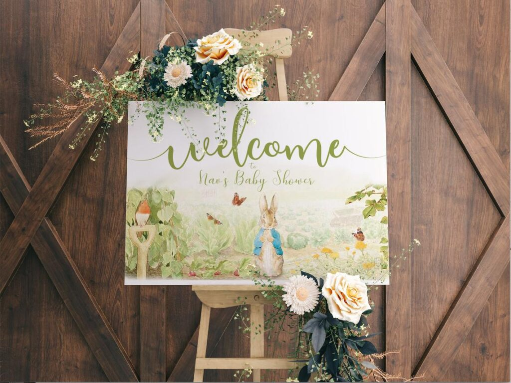 Baby Shower Welcome Sign | Personalized | Welcome Posters | Rustic Peter Rabbit Peter Rabbit Theme