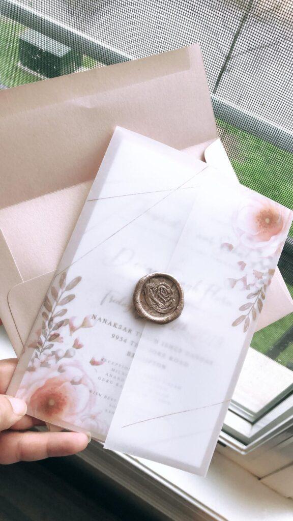 Whimiscal Suite | Printed Vellum Wedding Invitations, Vellum, Print, Indian Wedding Invitations, Wax Seal, Oversized Invitation