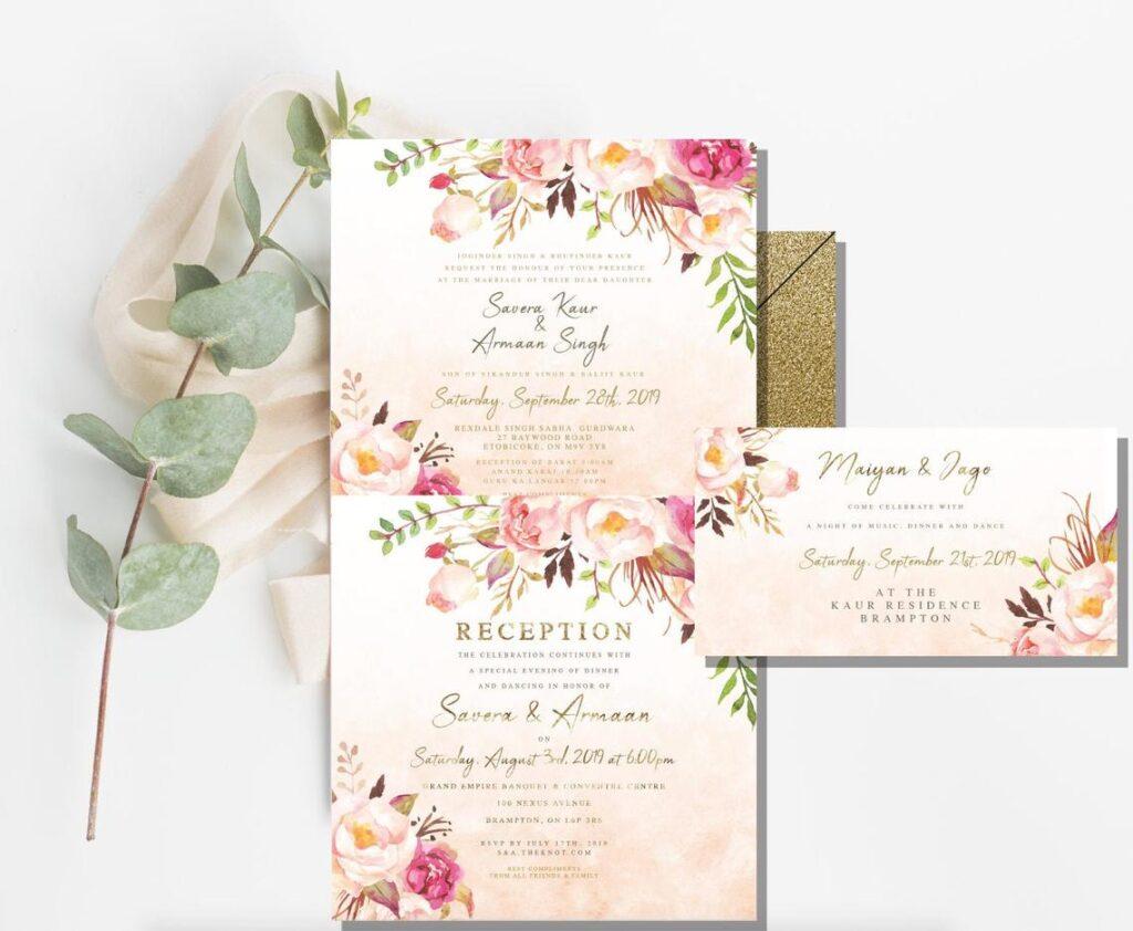 Floral Wedding Invitation | DIY | Indian Wedding Card | Sangeet Insert | Maiyan Insert
