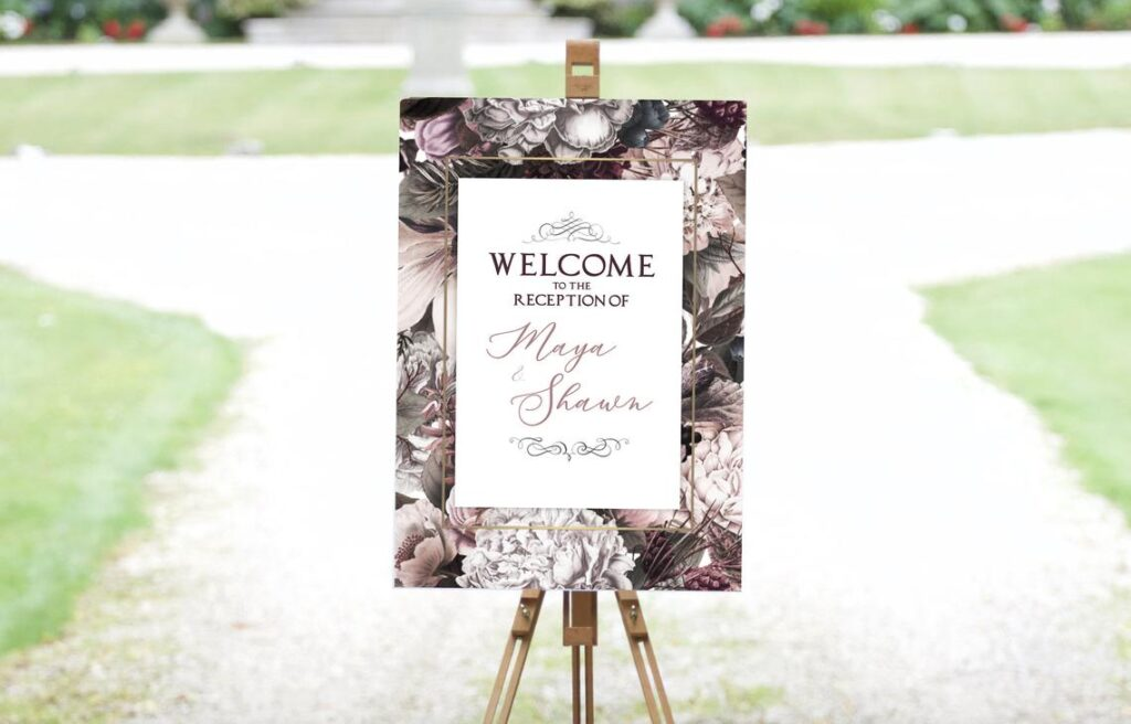 Floral Welcome Sign   Sangeet   Ladies Sangeet   Mayian Sign   Reception Sign   Wedding Sign   Personalized   Digital File