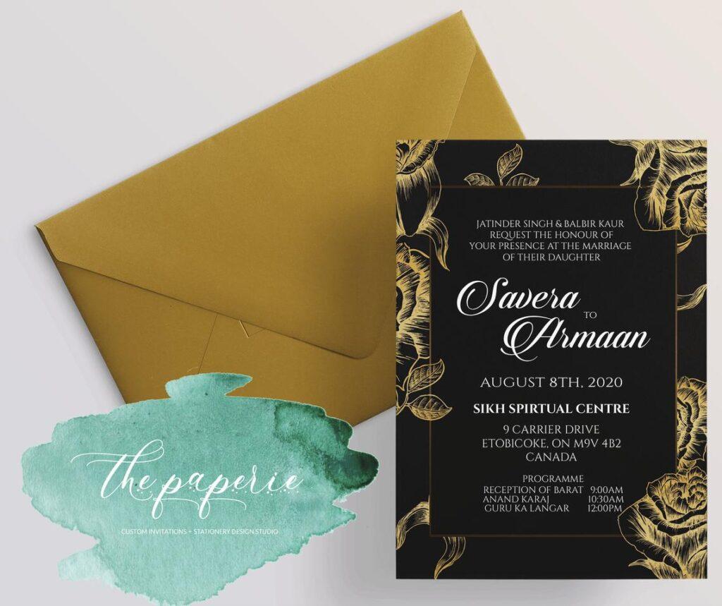 Wedding Invitation, Printed, Wedding Ensemble, Indian Wedding Invitation, Customizable