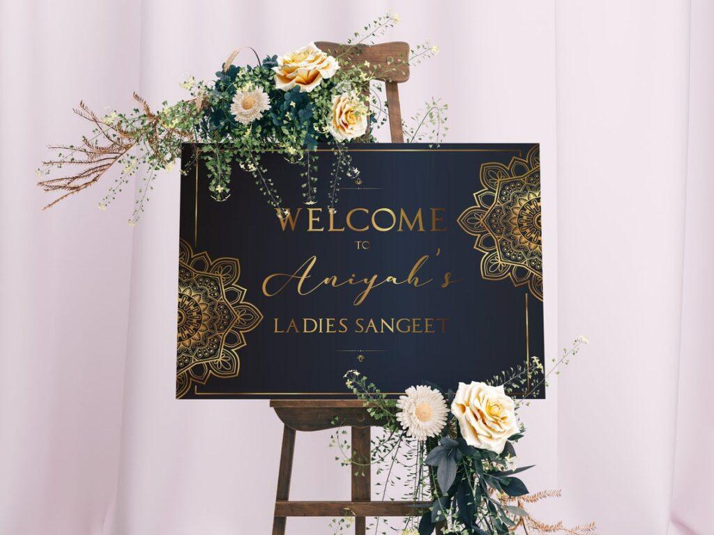 Wedding Welcome Sign | Ladies Sangeet | Mayian | Jago Party | Reception Sign | Gold Mandala